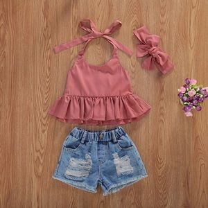 Girls Outfit |Sleeveless Tie Blouse & Denim Shorts